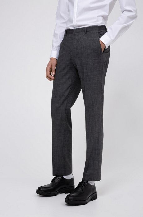 Regular-fit trousers in a micro-patterned stretch-wool blend, Grey