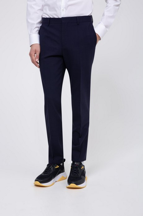 Pantalon Slim Fit en laine stretch mélangée, Bleu