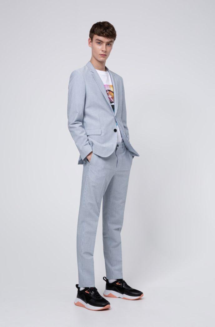 Extra slim-fit broek van gestreepte seersucker met stretch