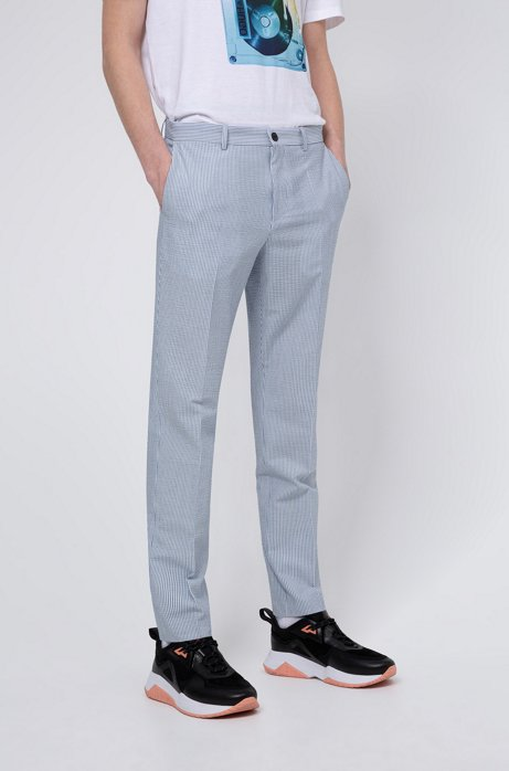 Extra-slim-fit trousers in striped seersucker with stretch, Patterned