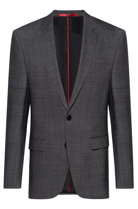 Regular-fit jacket in a virgin-wool blend, Grey