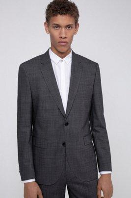 Regular-fit jacket in a virgin-wool blend, Grey