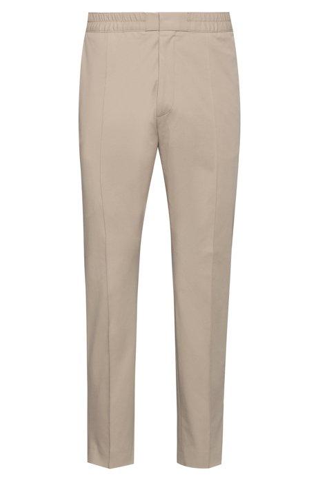 Pantalones extra slim fit de algodón elástico con cintura elástica, Beige
