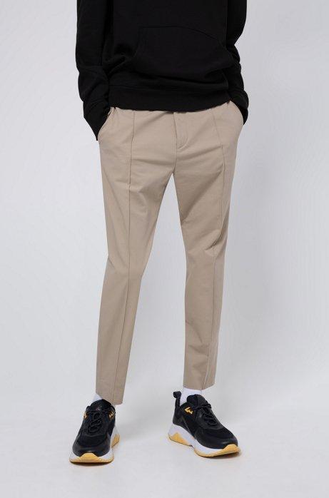 Extra Slim-Fit Hose aus Stretch-Baumwolle mit elastischem Bund, Beige