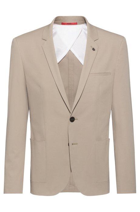 Extra-slim fit jacket in stretch cotton, Beige