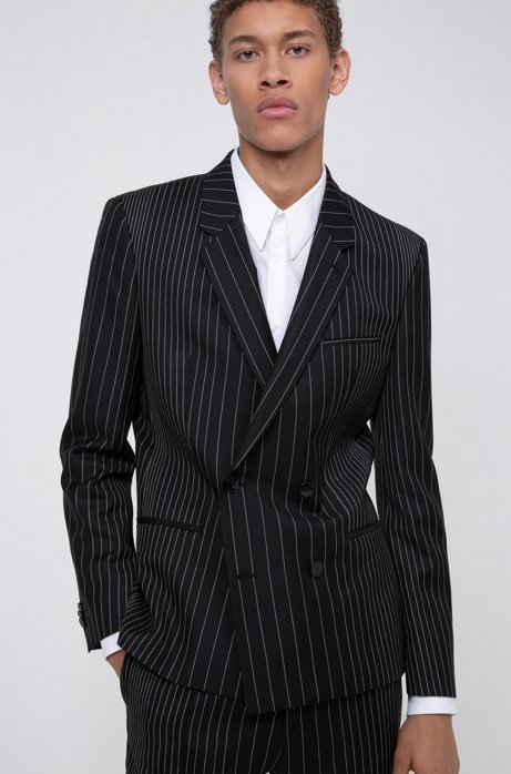 Double-breasted extra-slim-fit jacket in pinstripe wool, Patterned