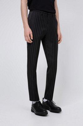 Pantalones extra slim fit de lana virgen con raya diplomática, Negro