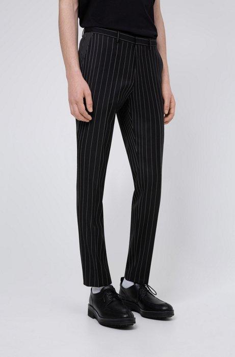 Pantalon Extra Slim Fit en laine vierge à rayures tennis, Noir