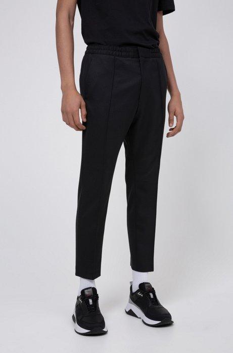 Pantalon Extra Slim Fit en twill stretch à taille élastique, Noir