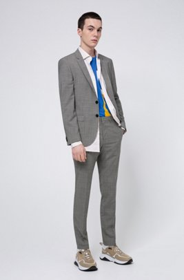Extra-slim-fit suit in micro-houndstooth virgin wool, Grey