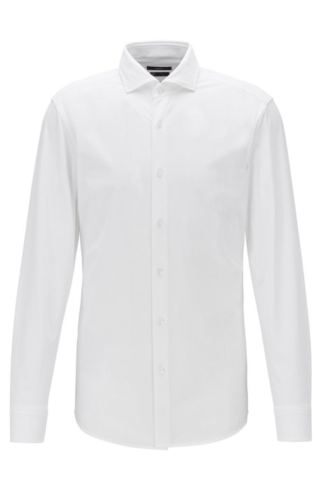 Slim-fit shirt in performance-stretch micro-dobby fabric, White