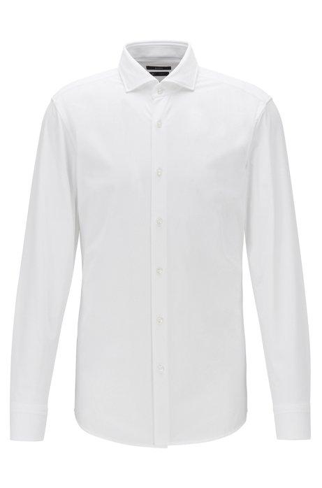 Slim-Fit Hemd aus funktionalem Stretch-Gewebe mit feiner Struktur, Weiß