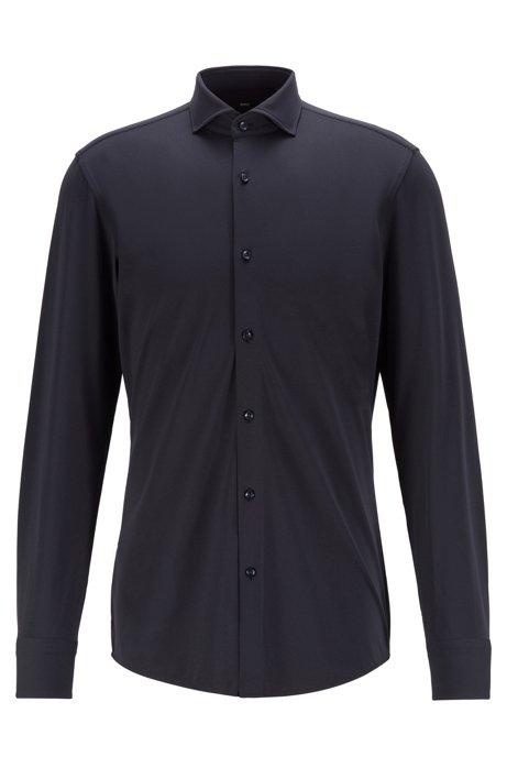 Slim-Fit Hemd aus funktionalem Stretch-Gewebe mit feiner Struktur, Dunkelblau