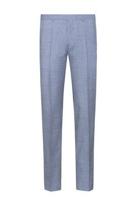 Extra-slim-fit trousers in melange virgin wool, Turquoise