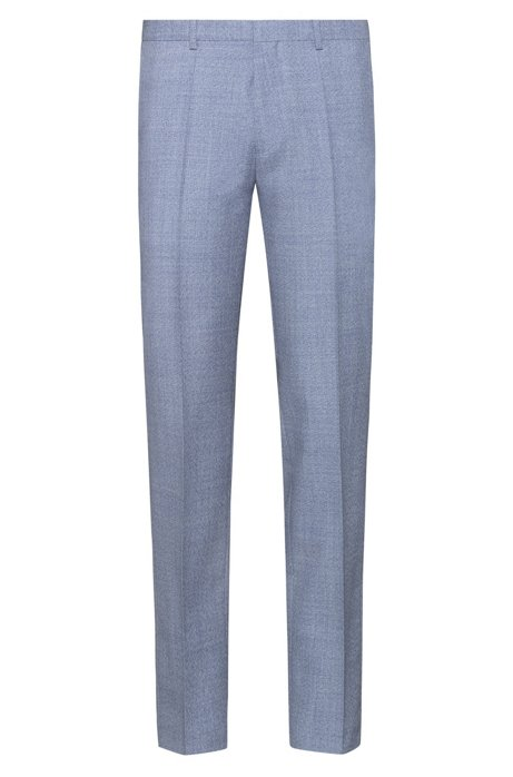 Pantalones extra slim fit de lana virgen jaspeada, Turquesa