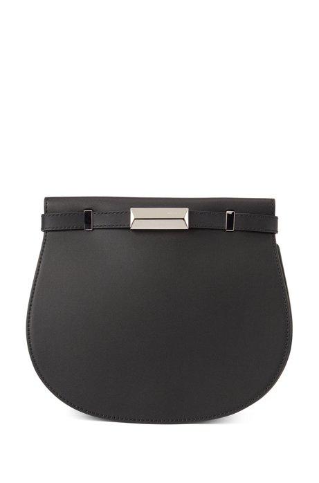 Satteltasche aus italienischem Leder mit charakteristischen Metall-Details, Schwarz