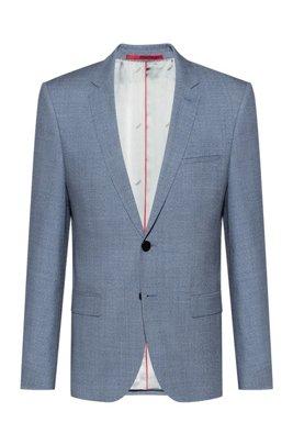Extra-slim-fit jacket in melange virgin wool, Blue