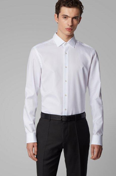 Chemise Slim Fit en coton structuré à poignets mousquetaires, Blanc