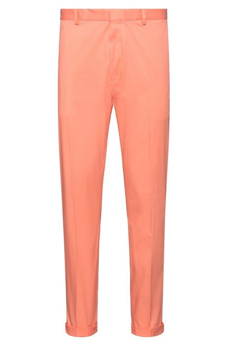 Extra-slim-fit trousers in stretch cotton, Light Orange