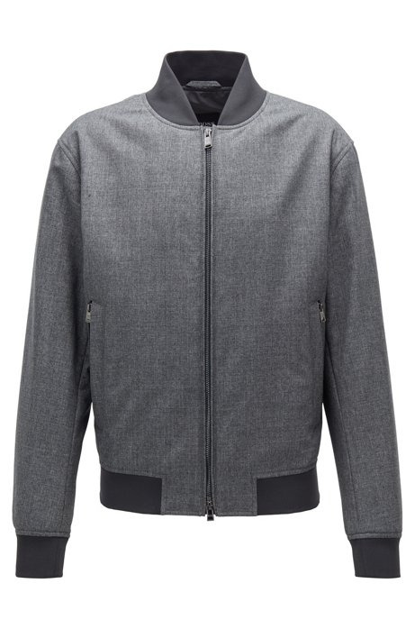 Bomber jacket in melange virgin wool, Grey