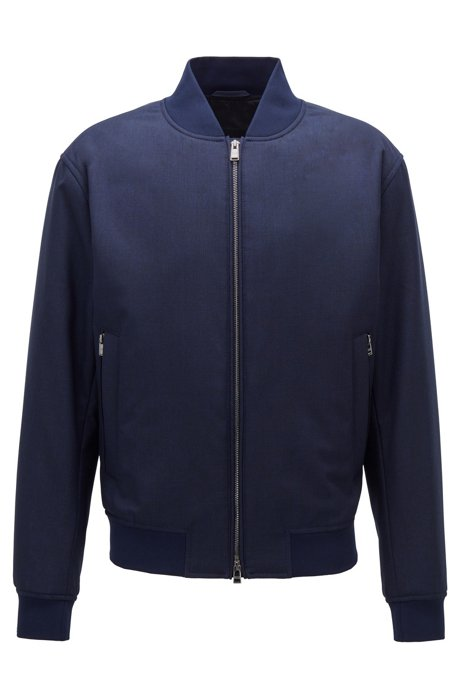 Bomber jacket in melange virgin wool, Dark Blue