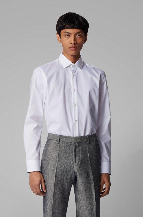 Slim-fit overhemd van gemakkelijk te strijken katoen, Wit