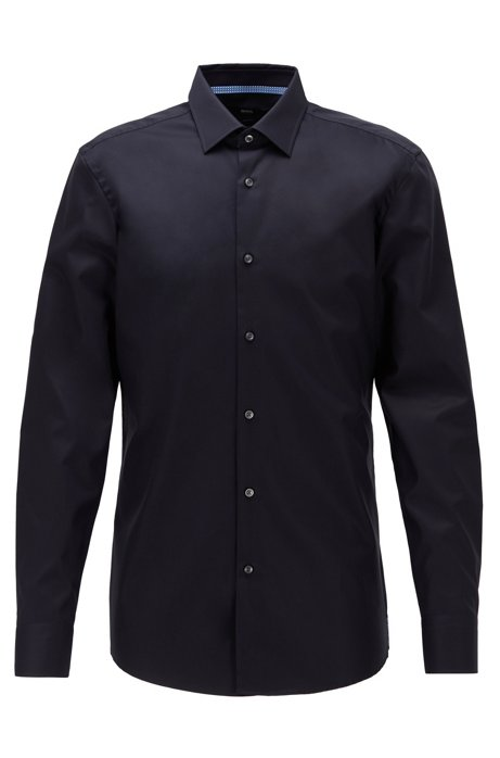 Slim-fit shirt in easy-iron Austrian cotton, Dark Blue