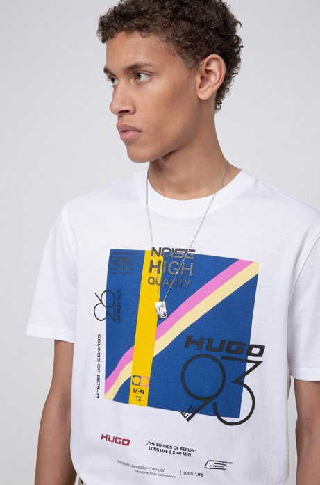 "T-Shirt aus Single Jersey mit ""HUGO '93""-Grafik, Weiß"