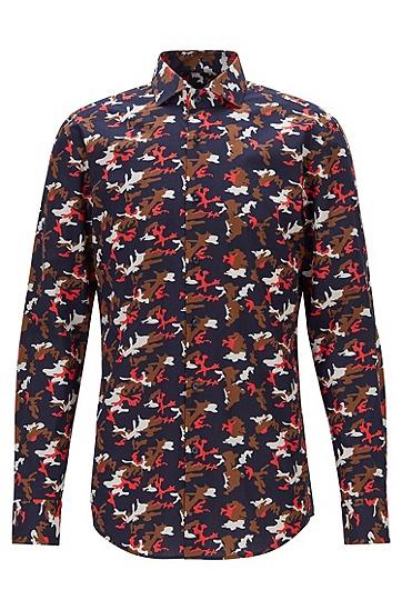 男士迷彩图案棉府绸修身衬衫,  618_中红色