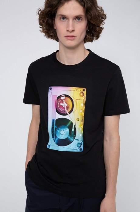 Cotton-jersey T-shirt with cassette-tape graphic print, Black