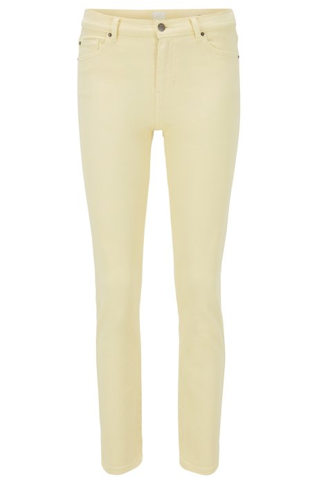 Slim-fit cropped jeans in overdyed stretch denim, Light Yellow
