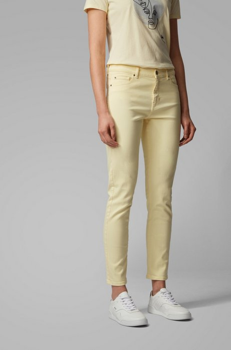 Jean Slim Fit court en denim stretch surteint, Jaune clair