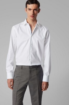 Regular-fit shirt in easy-iron Austrian cotton, White