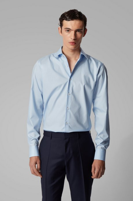 Camicia regular fit in cotone austriaco facile da stirare, Celeste