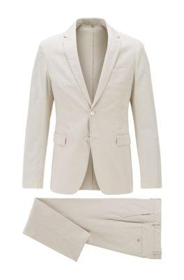 Slim-Fit Anzug aus Stretch-Baumwolle, Weiß