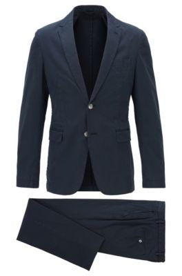 Costume slim fit en coton stretch, Bleu foncé