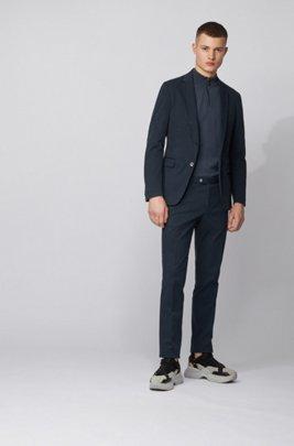 Slim-Fit Anzug aus Stretch-Baumwolle, Dunkelblau