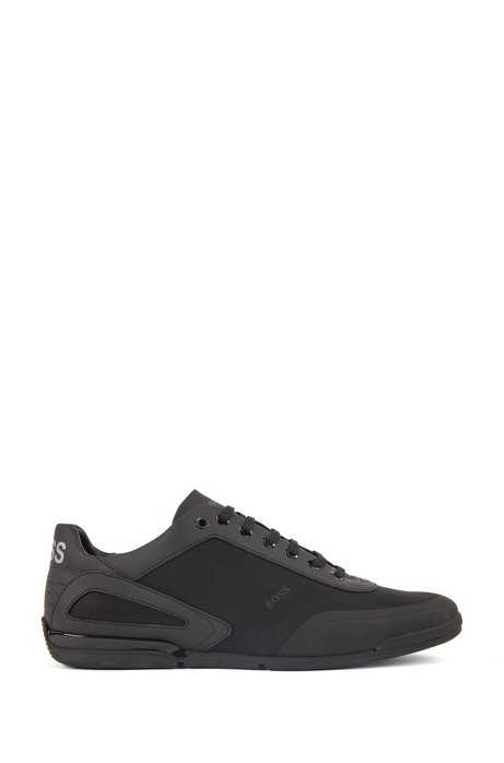 Low-profile trainers with mesh and reflective detailing, Black