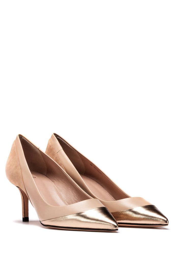 Heeled pumps with hybrid calf-leather uppers