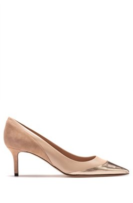 Heeled pumps with hybrid calf-leather uppers, Light Beige