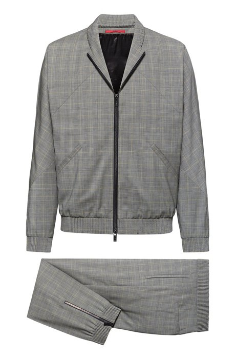 Slim-fit suit in checked wool with zipped jacket, Patterned