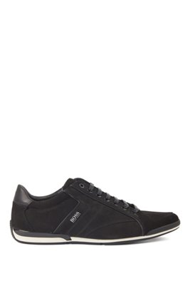 Low-top trainers in mixed leather with perforated panels, Black