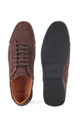 Low-top trainers in mixed leather with perforated panels, Dark Brown