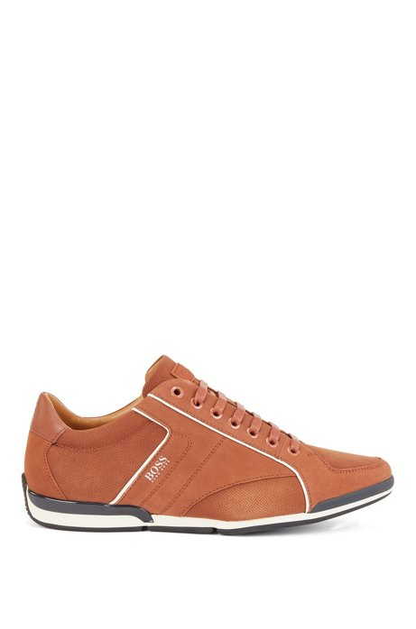 Low-top trainers in mixed leather with perforated panels, Brown