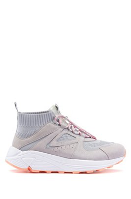 Lace-up trainers with knitted sock and chunky sole, Light Grey