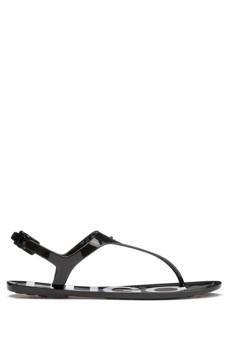High-gloss thong sandals with logo footbed, Black