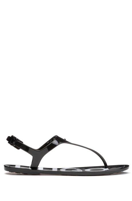 Hoogglanzende teensandalen met voetbed met logo, Zwart