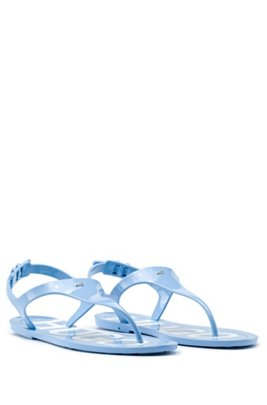 High-gloss thong sandals with logo footbed, Light Blue