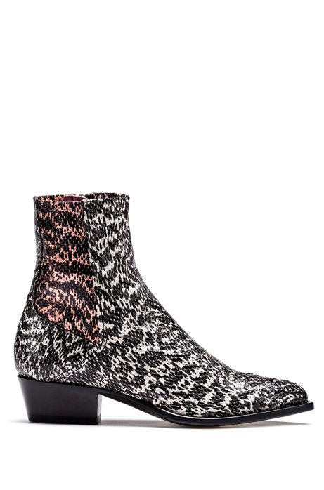 Snakeskin-print booties in calf leather, Patterned