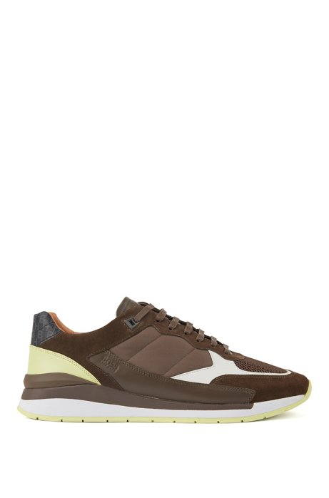 Hybrid trainers with monogram detailing, Brown